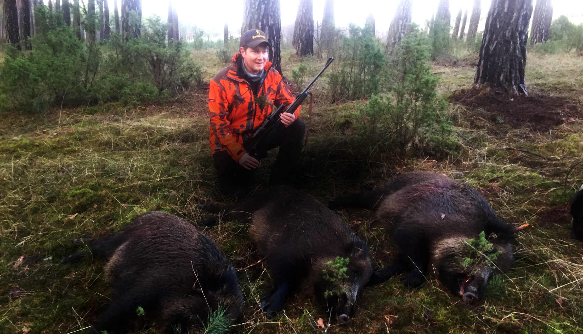 hunter with 3 wild boar shoot on 1 drive